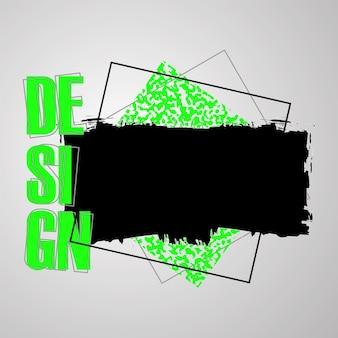 Fundo digital de vetor moderno grunge com pinceladas de tinta preta, padrão de meio-tom, malha abstrata. elementos abstratos de tendência do grunge. para papéis de parede, folhetos, capas e embalagens.