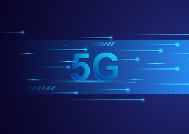 Fundo digital do conceito da tecnologia 5g. telecomunicação de banda larga de alta velocidade. ilustração