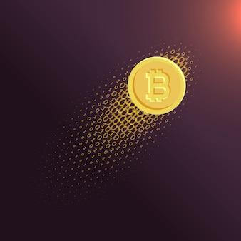 Fundo digital do vetor bitcoin da moeda da internet