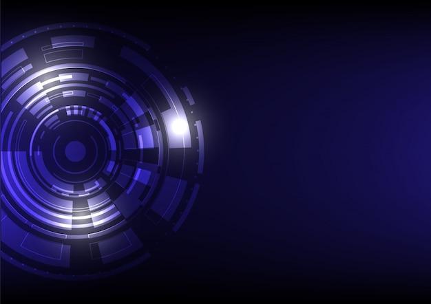 Fundo digital futurista de tecnologia abstrata em azul e preto com um círculo e várias formas geométricas quadradas