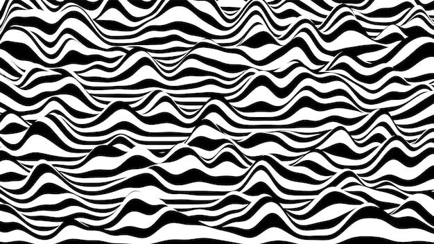 Fundo distorcido de listras onduladas 3d em preto e branco