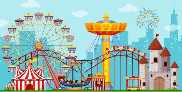 Fundo divertido parque de diversões