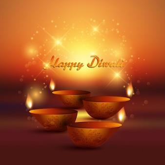 Fundo diwali decorativa com lâmpadas de óleo em chamas