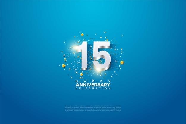 Fundo do 15º aniversário com ilustração de numerais folheados a prata brilhante