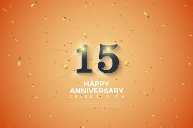 Fundo do 15º aniversário com ilustração de números sombreados em branco suave.