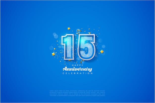 Fundo do 15º aniversário com números delineados em branco sobre um fundo azul.