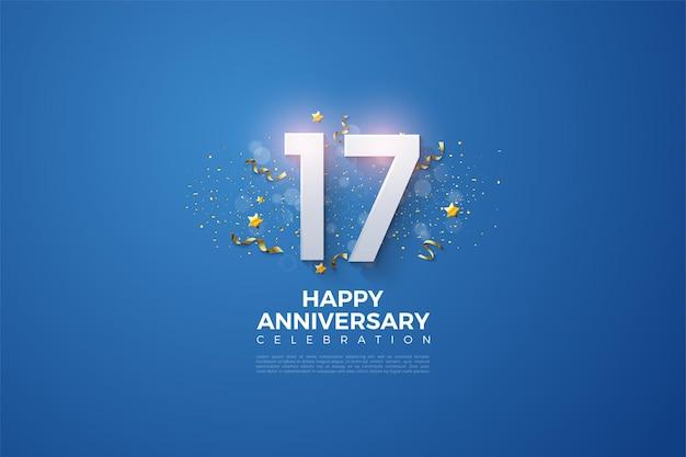 Fundo do 17º aniversário com fundo azul escuro brilhante.