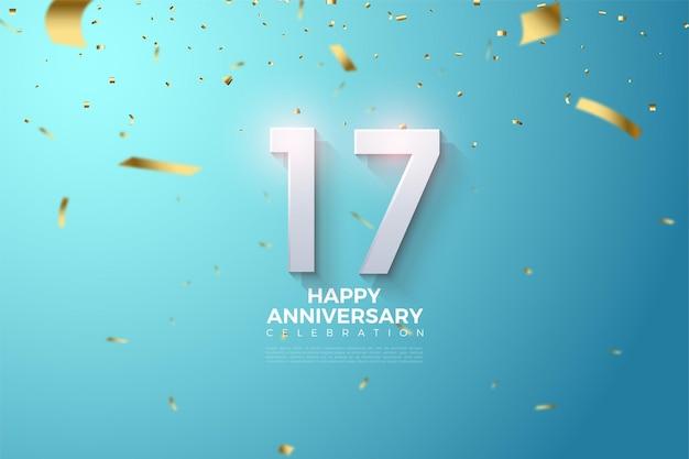 Fundo do 17º aniversário com ilustração de números no céu azul