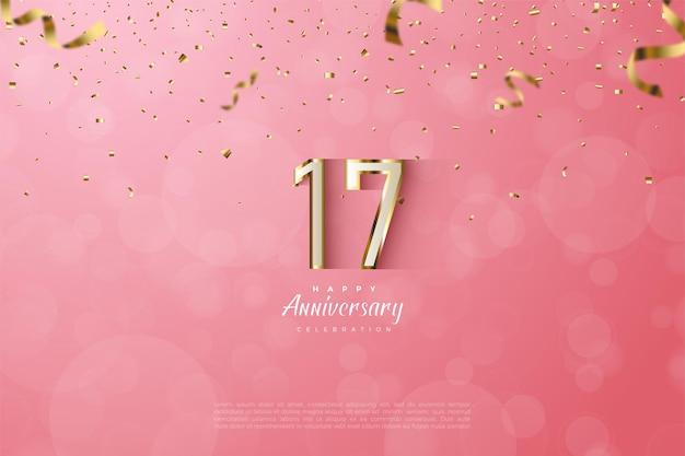 Fundo do 17º aniversário com luxuosos números 3d com arestas de ouro.