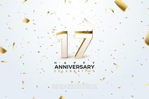 Fundo do 17º aniversário com números e um fundo cravejado de papel dourado