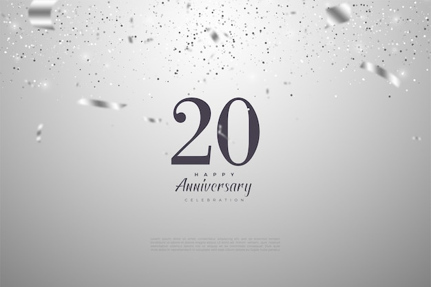 Fundo do 20º aniversário com ilustração de papel prateado caindo no fundo