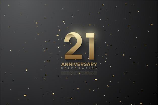 Fundo do 21º aniversário com ilustração de numerais estampados macios.