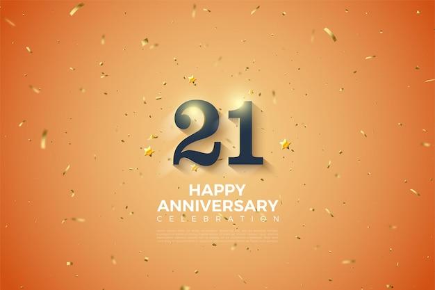 Fundo do 21º aniversário com números suaves em tons de branco.