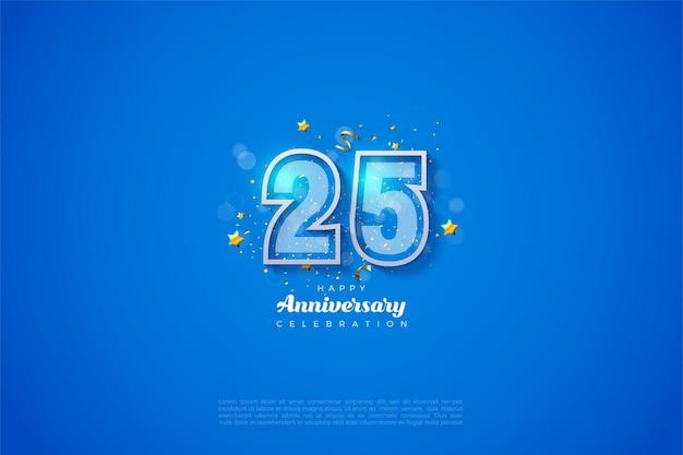 Fundo do 25º aniversário com números em negrito em listras azuis