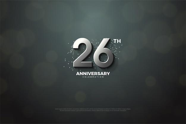 Fundo do 26º aniversário com algarismos 3d de prata