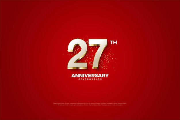 Fundo do 27º aniversário com design luxuoso de algarismos banhados a ouro.