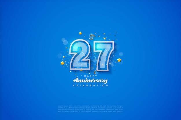 Fundo do 27º aniversário com dois dígitos e borda branca.