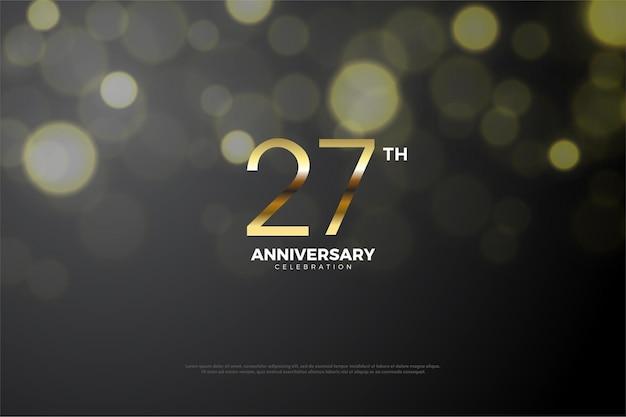 Fundo do 27º aniversário com um número dourado sombreado no meio.