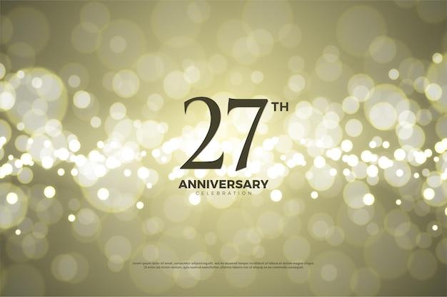 Fundo do 27º aniversário usando folha de ouro.