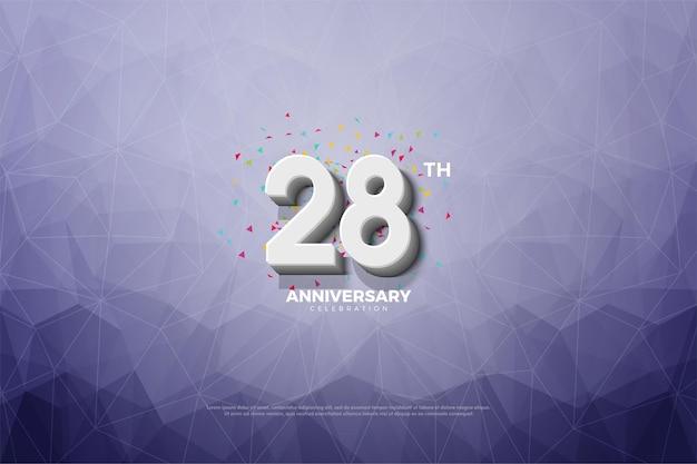 Fundo do 28º aniversário com números e fundo de cristal