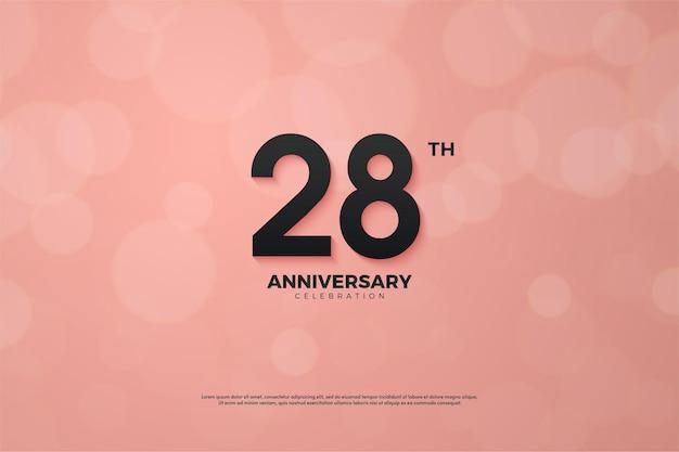 Fundo do 28º aniversário com números em fundo rosa