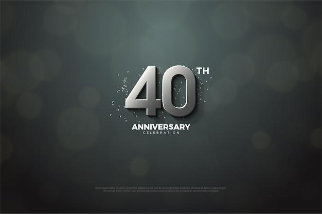 Fundo do 40º aniversário com dígitos de prata.