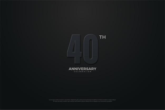 Fundo do 40º aniversário com números escuros. Vetor Premium