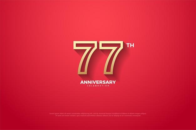 Fundo do 77º aniversário com borda de número marrom