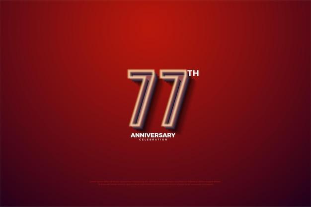 Fundo do 77º aniversário com borda numérica branca suave