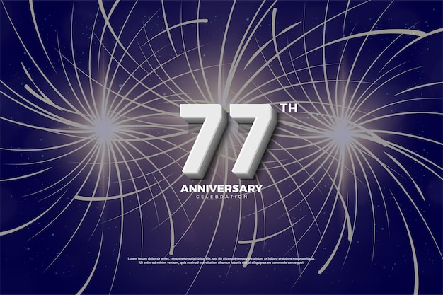 Fundo do 77º aniversário com números 3d e fogos de artifício