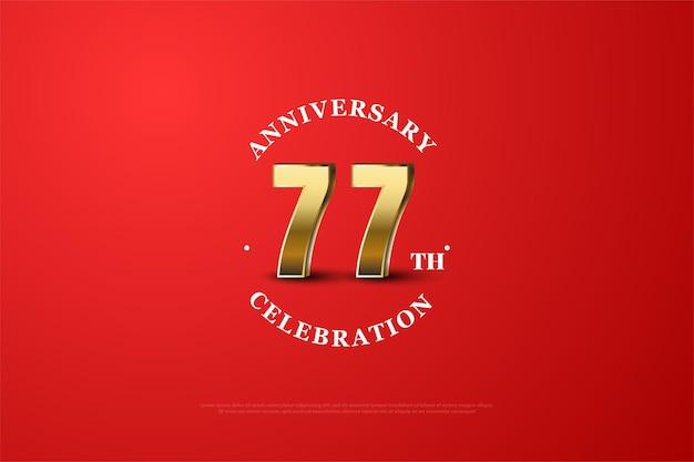 Fundo do 77º aniversário com números dourados sombreados