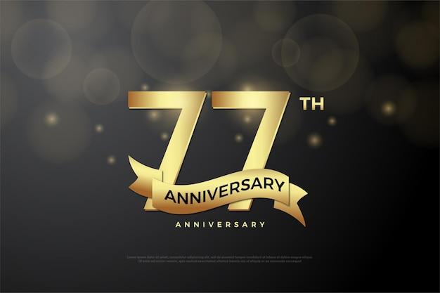 Fundo do 77º aniversário com números e design simples