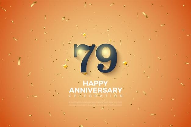 Fundo do 79º aniversário com números brilhantes