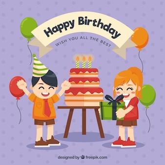 Fundo do aniversário com as crianças alegres
