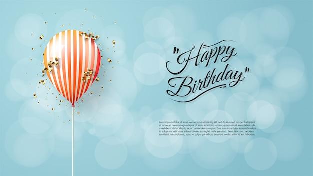 Fundo do aniversário com ilustração alaranjada do balão 3d.