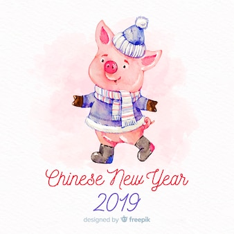 Fundo do ano novo chinês de 2019