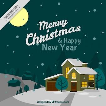 Fundo do ano novo e feliz ano novo com a casa acolhedora em uma paisagem de neve