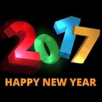 Fundo do ano novo feliz com números 3d