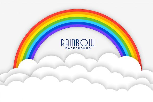 Fundo do arco-íris com nuvens brancas papercut design