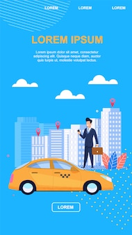 Fundo do azul da ilustração do vetor do táxi do negócio.