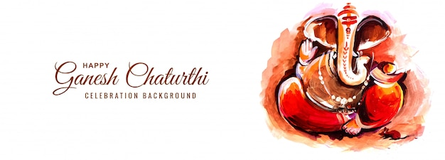 Fundo do banner de ganesh chaturthi do festival religioso indiano