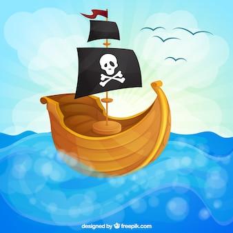 Fundo do barco de vela pirata