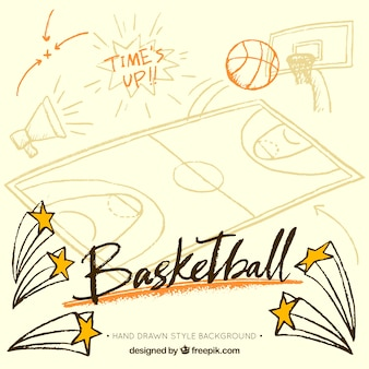Fundo do basquetebol com itens desenhados à mão