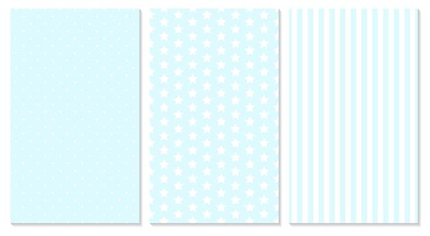 Fundo do bebê. padrão azul. bolinhas, listras, padrão de estrelas.