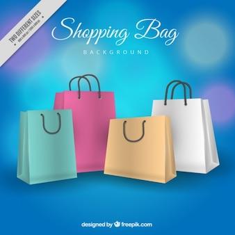 Fundo do bokeh de sacos de compras
