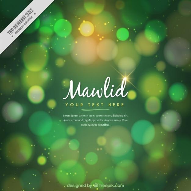 Fundo do bokeh verde brilhante mawlid