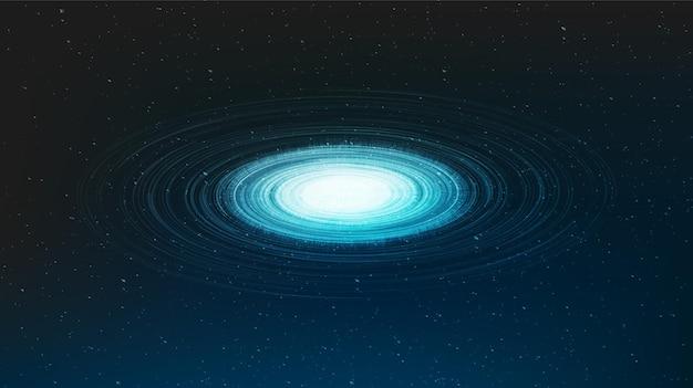Fundo do buraco negro em espiral de luz gravitacional