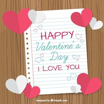 Fundo do caderno com corações para o dia dos namorados
