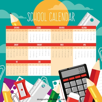 Fundo do calendário escolar com materiais