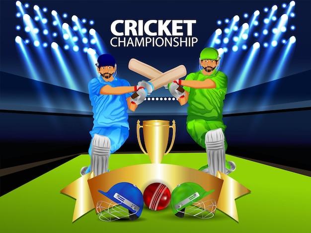 Fundo do campeonato de críquete com ilustração vetorial
